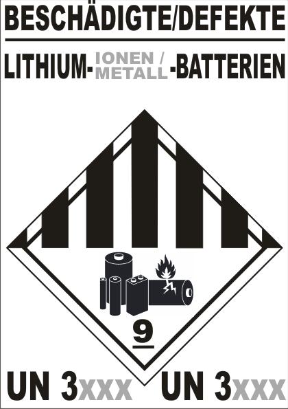 BESCHÄDIGTE / DEFEKTE LITHIUM- (IONEN / METALL) -BATTERIEN KL9A