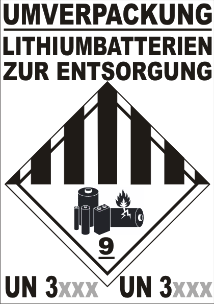 UMVERPACKUNG LITHIUM- (IONEN / METALL) -BATTERIEN ZUR ENTSORGUNG