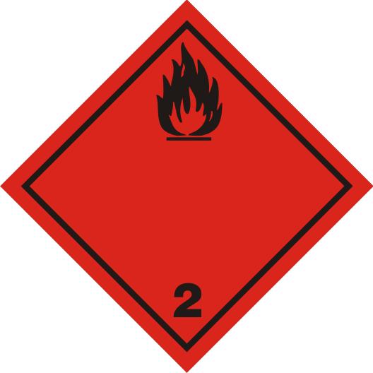 Gefahrgutaufkleber der  Klasse 2.1