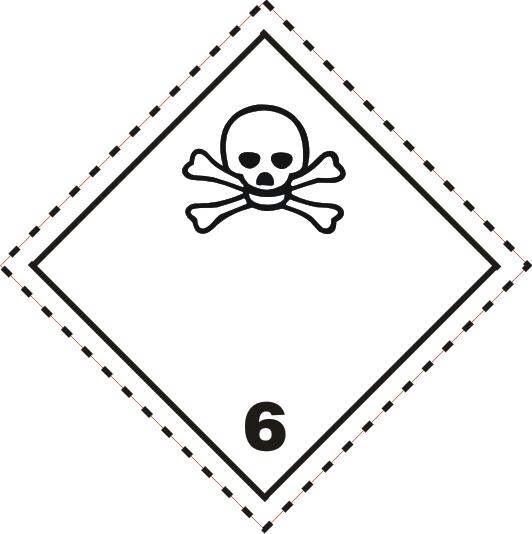 Gefahrgutaufkleber Klasse 6.1 mit gestrichelter Linie